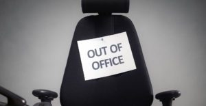 office chair with out of office label
