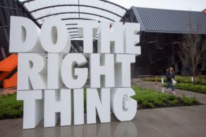 Nike office do the right thing text