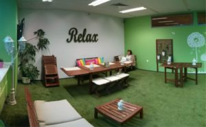 green relax space in office