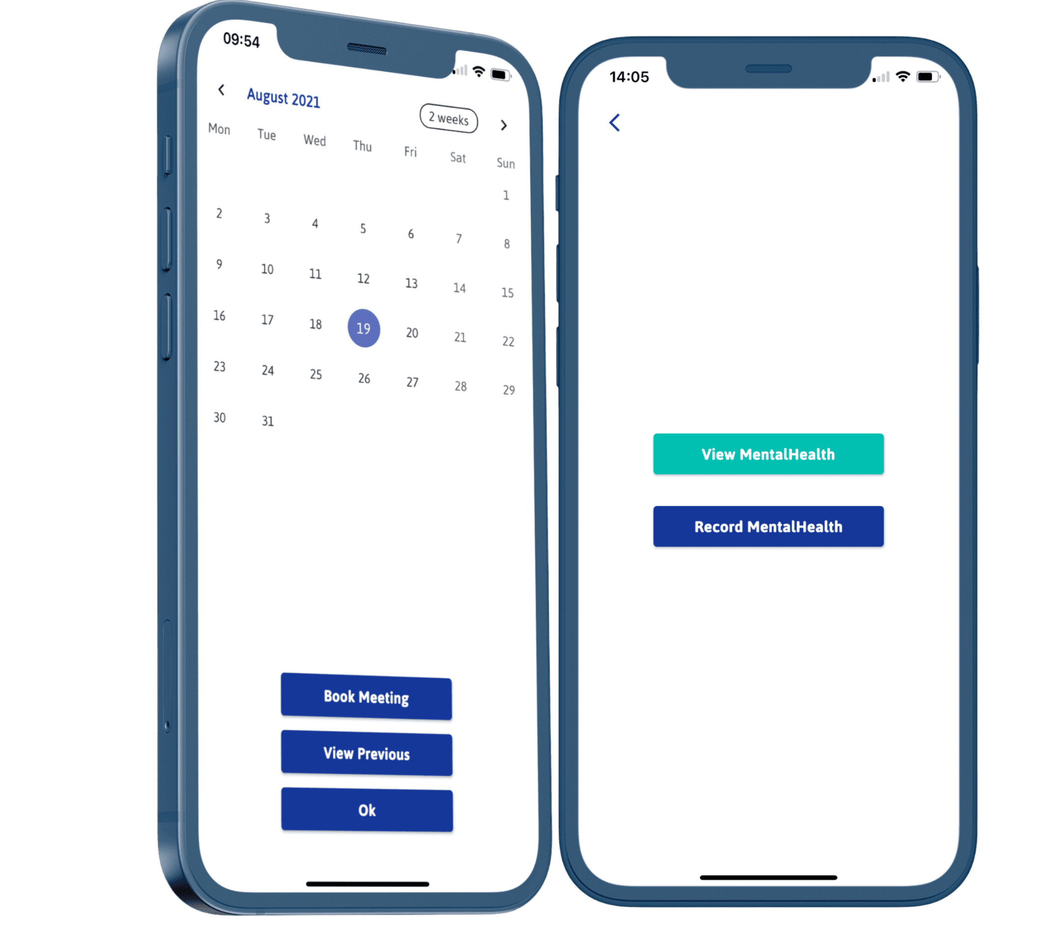 two phones with calendar on screen